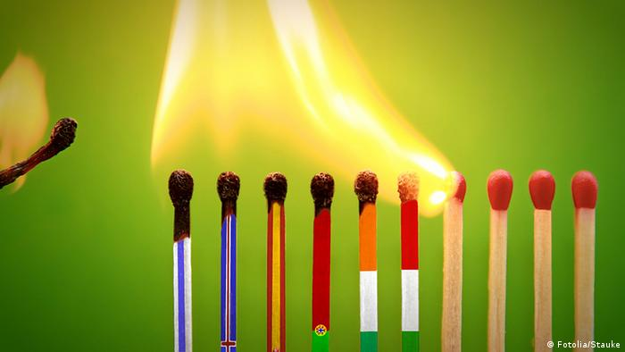 Graphic with burning matches representing euroznoe countries (Photo: Fotolia)