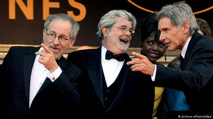Director Steven Spielberg, US producer George Lucas and US actor Harrison Ford (picture-alliance/dpa)