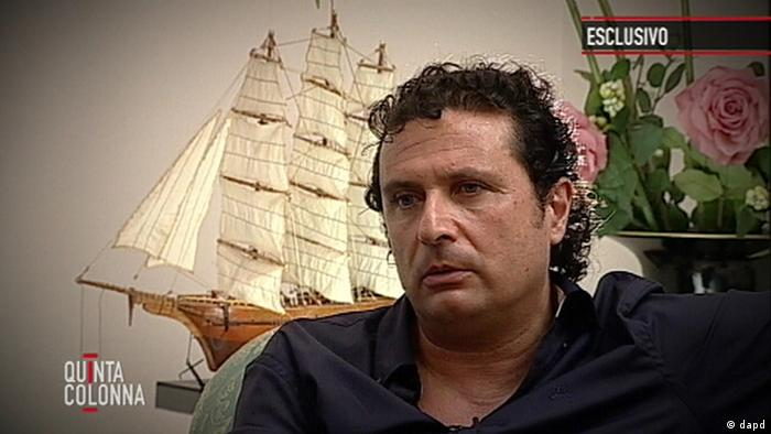 Francesco Schettino, the captain of the Costa Concordia cruise ship which ran aground in January off the coast of Isola del Giglio, Italy, killing 32 (Photo: Mediaset, HOEP/AP/dapd)