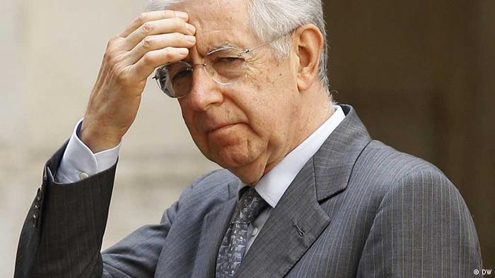 Italian Prime Minister Mario Monti in a thoughtful pose