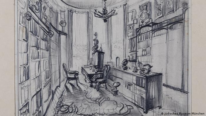 Kabinett von Julius Genss, Bleistiftzeichnung von Dagmar Bette-Punga, 1938 (Foto: Sammlung Julius Genss Courtesy/ Jüdisches Museum München)