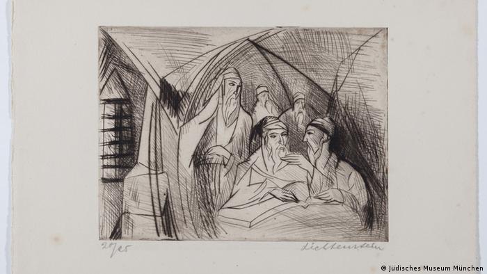 Synagoge, Radierung von Isaak Lichtenstein (Foto: Sammlung Julius Genss Courtesy/ Jüdisches Museum München)