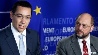 Romania's Prime Minister Victor Ponta and European Parliament President Martin Schulz
