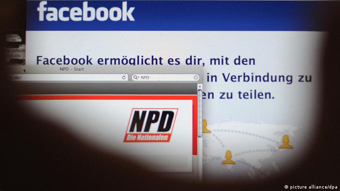 Auf einem Computermonitor in Hannover sind die Internetseiten der NPD und des sozialen Netzwerks Facebook zu sehen (Foto: dpa)