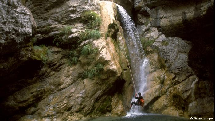 9 Sep 1999: Canyoning in the Alpes Maritimes in the Provence-Alpes region of France. \ Mandatory Credit: Pascal Rondeau /Allsport