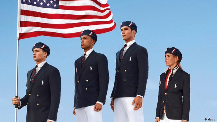 FILE - This product image released by Ralph Lauren shows U.S. Olympic athletes, from left, swimmer Ryan Lochte, decathlete Bryan Clay, rower Giuseppe Lanzone and soccer player Heather Mitts modeling the the official Team USA Opening Ceremony Parade Uniform. Republicans and Democrats railed Thursday, July 12, 2012 about the U.S. Olympic Committee's decision to dress the U.S. team in Chinese manufactured berets, blazers and pants while the American textile industry struggles economically with many U.S. workers desperate for jobs. (Foto:Ralph Lauren, File/AP/dapd)