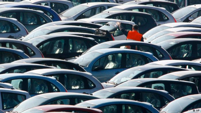 ** FILE ** This Feb.19, 2008 file photo shows Citroen cars outside the Aulnay sous Bois factory, near Paris, France. The French government was set to unveil Monday Feb. 9, 2009, a bailout plan for the auto industry that includes euro 6 billion ($7.7 billion) in loans for Renault SA and PSA Peugeot-Citroen, according to news reports. (ddp images/AP Photo/Jacques Brinon)
