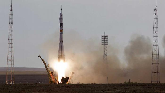 The Soyuz spacecraft blasts off from its launch pad at Baikonur cosmodrome