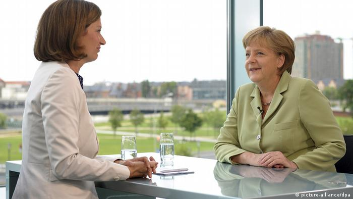 Chancellor Angela Merkel (r) during the ZDF interview