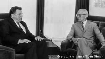 Erich Honecker sits with Franz-Josef Strauss