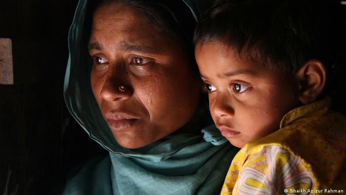 Naseema Akhtar, an illegal Rohingya refugee woman and her son