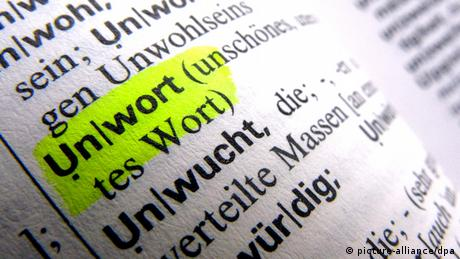 A dictionary entry for the German word 'unwort'