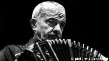 (FILE) An undated file picture shows Argentine tango composer and bandoneon player, Astor Piazzolla playing his bandoneon in Buenos Aires, Argentina. Two decades have passed since the death of Astor Piazzolla. But time could not even turn the cutting edge and revolutionary character of his tango, which still remains a source of inspiration for many young urban music orchestras, July 2, 2012. Photo: Claudio Herdener/dpa