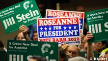 Delegates show their support for presidential candidates Dr. Jill Stein and actress Roseanne Barr at the Green Party presidential nominating convention in Baltimore, Maryland, July 14, 2012. REUTERS/Jonathan Ernst (UNITED STATES - Tags: POLITICS ELECTIONS)