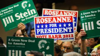 Delegates show their support at the Green Party presidential nominating convention in Baltimore, Maryland, (photo: Reuters)