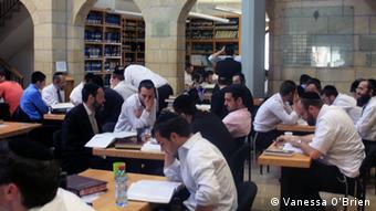 Students inside Aish HaTorah Yeshiva, Jerusalem
