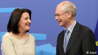 European Council President Herman Van Rompuy, right, welcomes Atifete Jahjaga, President of Kosovo, at the European Council building in Brussels, Wednesday, July 18, 2012. (Photo:Yves Logghe/AP/dapd)