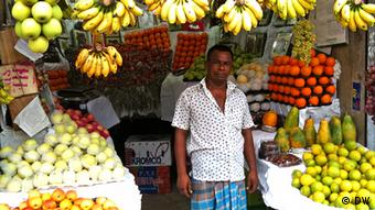 A shop selling bananas and other fruit in Dhaka, Bangladesh