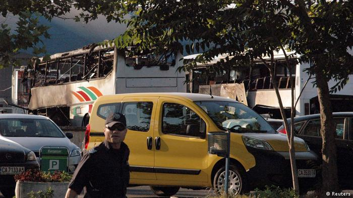 Burnt buses are seen at Bulgaria's Burgas airport
