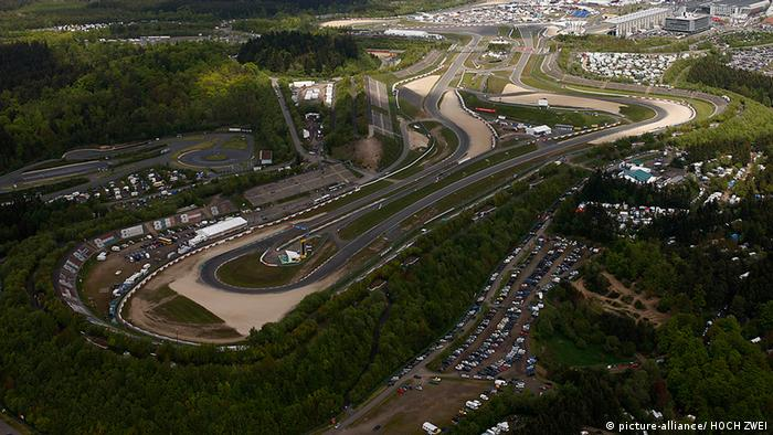 The stadium section of the Nürburgring, viewed from above