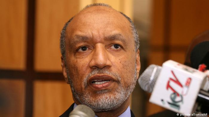 Mohamed bin Hammam, chief of the Asian Football Confederation, talks to local media in Port of Spain, Trinidad & Tobago.