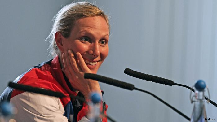 A member of the Equestrian team Great Britain and the Queen's granddaughter Zara Phillips speaks to reporters during a press conference at King William Theatre in London Tuesday June 19, 2012.