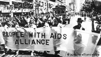 AIDS activists march throught the streets of San Francisco in 1983