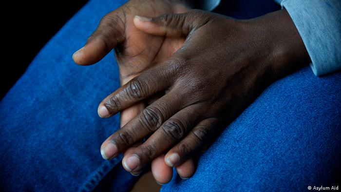 Close-up of a female asylum seeker's hands-many asylum-seekers refuse to have their pictures taken for fear of further persecution
