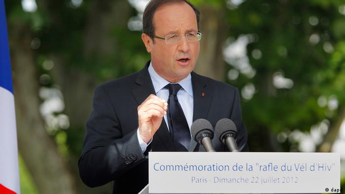 President Francois Hollande delivers a speech at the Jewish memorial during ceremonies to mark the commemoration of the 70th anniversary of the Vel d'Hiv roundup in 2012.