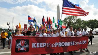 COMMERCIAL IMAGE - In this photograph taken by AP Images for AIDS Healthcare Foundation, marchers begin the Keep the Promise March on Washington and rally, Sunday, July 22, 2012, in Washington. (Larry French/AP Images for AIDS Healthcare Foundation)