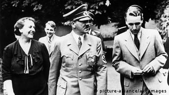 Winifred Wagner, Adolf Hitler and Wieland Wagner at the opening of the Bayreuth Festival 1938. In the background: Wolfgang Wagner