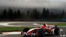 Germany's Michael Schumacher of the Ferrari team steers his car into a curve during a practice session of the Belgium Formula One Grand Prix, Saturday Sept.10, 2005. Fernando Alonso set the fastest time in practice for the Belgian Grand Prix Saturday ahead of Kimi Raikkonen, the only challenger left to prevent the Spaniard from become Formula One's youngest champion this weekend. (ddp images/AP Photo/Geert Vanden Wijngaert)