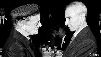 Agnes E. Meyer, wife of Eugene Meyer, the chairman of the board of the Washington Post and Times Herald, talks with Dr. J. Robert Oppenheimer, director of the Institute for Advanced Study at Princeton University, in Washington, D.C.
