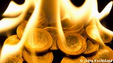 Euro Münzen in Brand