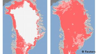 Greenland satellite images showing ice loss. REUTERS/NASA/Handout.