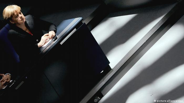 German Chancelloer Angela Merkel at the Bundestag in 2012. Photo: Britta Pedersen pixel