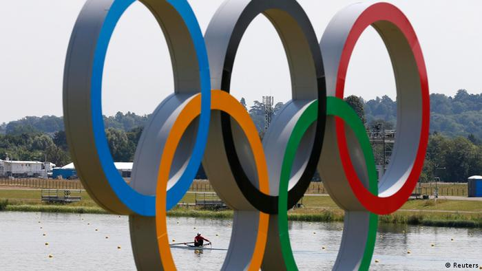 A Taiwan rower trains for the single sculls at Eton Dorney near London in preparation for the Olympic Games July 25, 2012. REUTERS/Jim Young (BRITAIN - Tags: SPORT OLYMPICS ROWING)