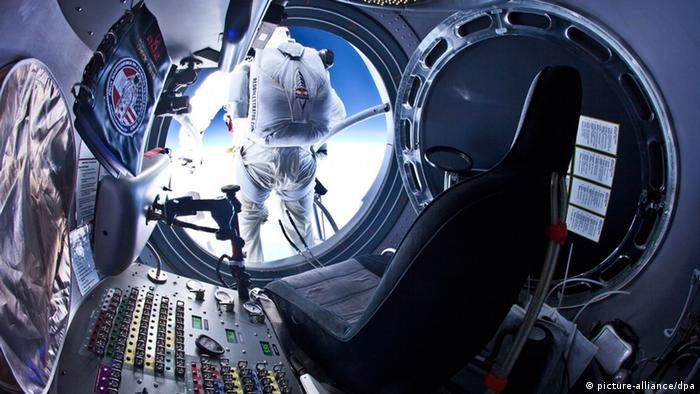 Baumgartner about to take off for one of his jumps