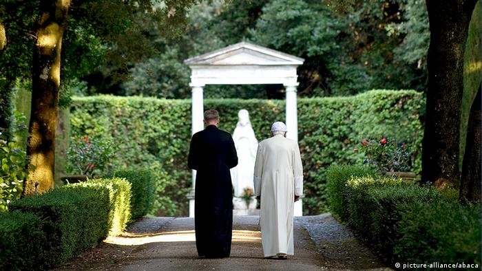 Gettyimages. Pope Benedict XVI flanked by his private secretary Monsignor Georg Gaenswein, walks in the garden of the pontiffs' summer residence in Castel Gandolfo, south of Rome, Italy on July 23, 2010, where he is spending his vacations, in the hills overlooking Rome. Lakeside little town outside of Rome, Castel Gandolfo is the Popes'summer residence for 400 years. Photo by ABACAPRESS.COM
