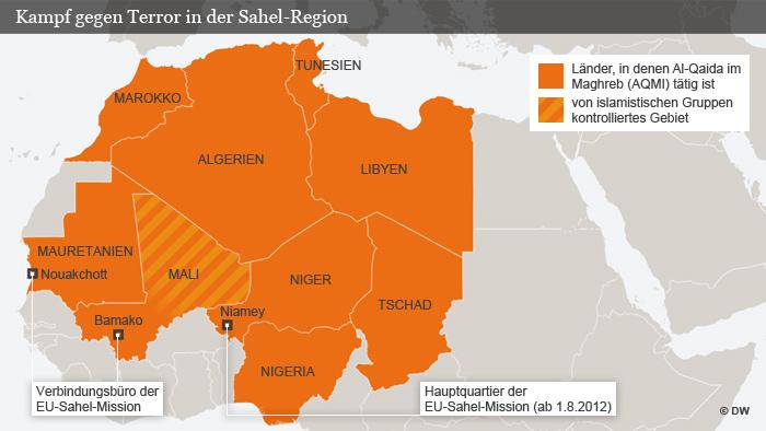 Eine Infografik zeigt Afrikas Sahel-Region und vermittelt Informationen über den dortigen Kampf gegen den Terror