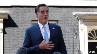 U.S. Republican Presidential candidate Mitt Romney speaks to the press following his meetings at 10 Downing Street in London, July 26, 2012. U.S. Republican presidential candidate Mitt Romney's high-profile overseas trip got off to a rocky start on Thursday when he was forced to clarify a comment seen as criticizing London's handling of the Summer Olympics that he came to celebrate. REUTERS/Jason Reed (BRITAIN - Tags: POLITICS)
