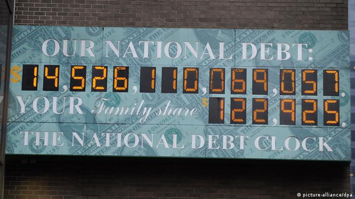 Board showing US debt levels back in 2011