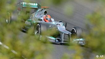 Germany's Mercedes driver Michael Schumacher drives his race car during the third practice session of the Hungarian Formula One Grand Prix at the Hungaroring circuit outside Budapest, Hungary, Saturday, July 28, 2012. (AP)