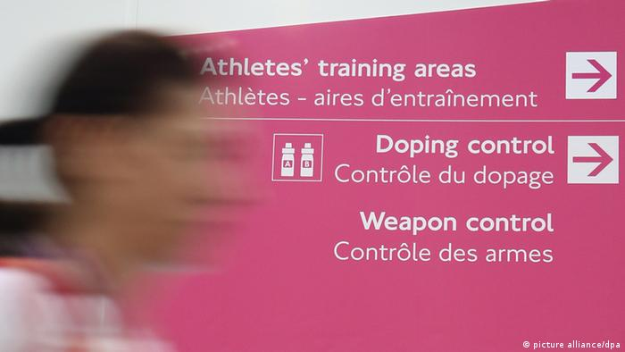A sign of the doping control is seen in the ExCeL Arena in London, Great Britain, 26 July 2012. The London 2012 Olympic Games will start on 27 July 2012. Photo: Friso Gentsch dpa