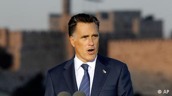 Republican presidential candidate and former Massachusetts Gov. Mitt Romney delivers a speech in Jerusalem, Sunday, July 29, 2012. (Foto:Charles Dharapak/AP/dapd).