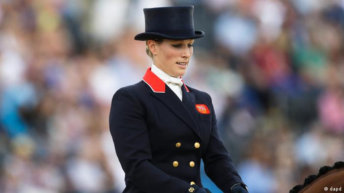 Zara Phillips from Great Britain arrives to competes with her horse High Kingdom in the equestrian eventing dressage phase during the equestrian eventing competition at Greenwich Park, at the 2012 Summer Olympics, Sunday, July 29, 2012, in London.