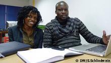 """Wavumbuzi wa """"Mafuta-Go"""", Christine Ampaire na Daniel Odongo."""
