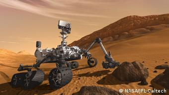 Curiosity - The Next Mars Rover This artist concept features NASA's Mars Science Laboratory Curiosity rover, a mobile robot for investigating Mars' past or present ability to sustain microbial life. Curiosity is being tested in preparation for launch in the fall of 2011. In this picture, the rover examines a rock on Mars with a set of tools at the end of the rover's arm, which extends about 2 meters (7 feet). Two instruments on the arm can study rocks up close. Also, a drill can collect sample material from inside of rocks and a scoop can pick up samples of soil. The arm can sieve the samples and deliver fine powder to instruments inside the rover for thorough analysis. The mast, or rover's head, rises to about 2.1 meters (6.9 feet) above ground level, about as tall as a basketball player. This mast supports two remote-sensing instruments: the Mast Camera, or eyes, for stereo color viewing of surrounding terrain and material collected by the arm; and, the ChemCam instrument, which is a laser that vaporizes material from rocks up to about 9 meters (30 feet) away and determines what elements the rocks are made of. NASA's Jet Propulsion Laboratory, a division of the California Institute of Technology, Pasadena, manages the Mars Science Laboratory Project for the NASA Science Mission Directorate, Washington. For more information about Curiosity is at http://mars.jpl.nasa.gov/msl/ . Image credit: NASA/JPL-Caltech