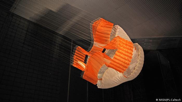 The landing parachute was tested in 2009 inside the world's largest wind tunnel