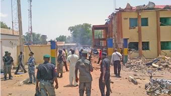 A police station in Nigeria after a bomb attack. Photo: Aminu Abdullahi Abubakar (DW correspondent)